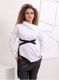 """Екстравагантна блуза-риза """"Miss White"""" в бяло"""