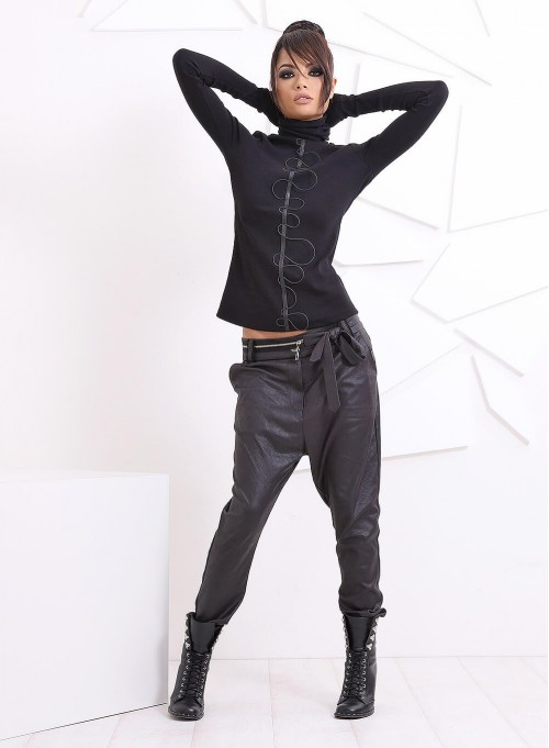 """Панталон """"Zipper"""" с ниско дъно от еко кожа"""