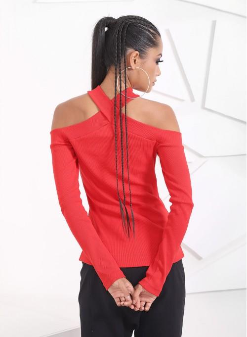 """Рипсена блуза """"Red Chick"""" в червено"""