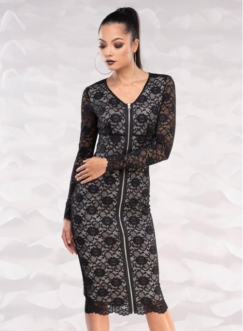 """Дантелена рокля """"Finesse"""" с метален цип"""