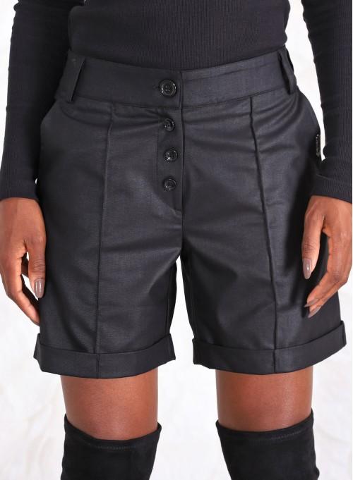 Къс панталон със средна дължина тип мъжки в черно
