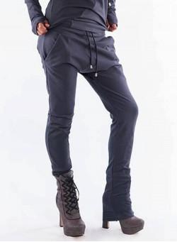Панталон с рипсен акцент в сиво