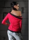 Блуза с голо рамо от рипс в цвят циклама и акцент от дантела  - 2