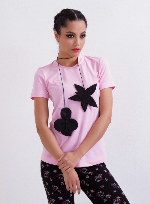 """Екстравагантна блуза """"Sweet Pink"""" с вграден аксесоар"""