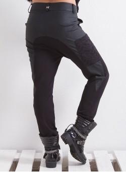 Спортен панталон с акценти от кожа и дантела