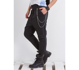 """Панталон """"Грейс"""" в черно с метален аксесоар"""