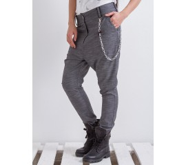 """Панталон """"Грейс"""" с метален аксесоар в меланжирано сиво"""