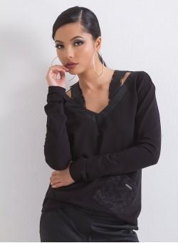 Спортна блуза с акценти от кожа и дантела