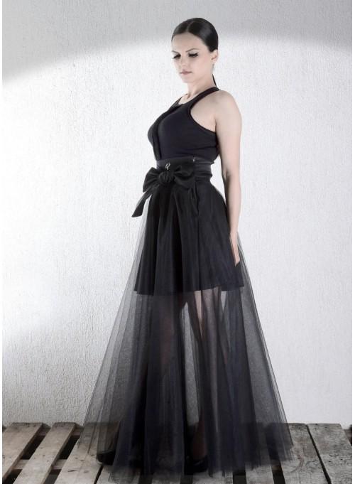 Екстравагантна пола с тюл в черно