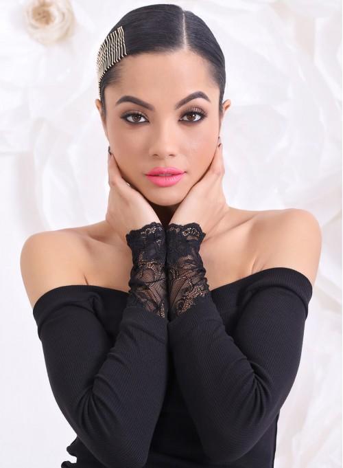 """Блуза """"Elegance"""" от рипс с дантелени ръкави и подвижен аксесоар"""