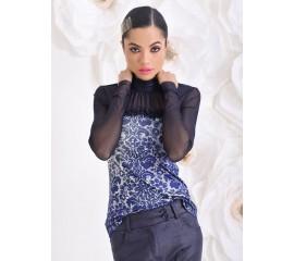"""Блуза """"Vintage Look"""" с тюлен акцент в синьо"""