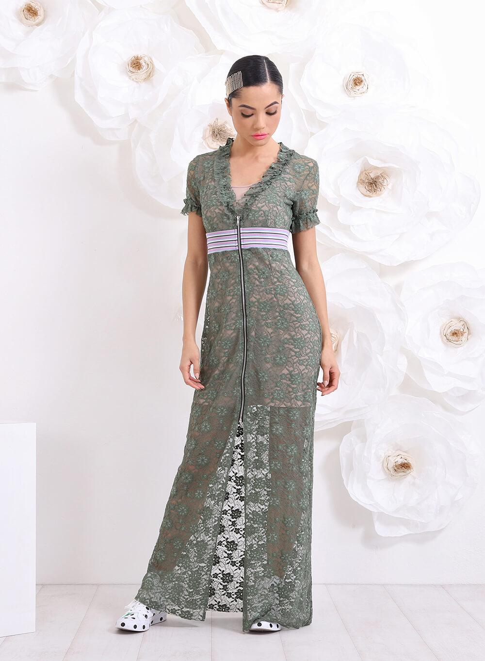 37c2fa52c8c Дълга рокля от зелена дантела в 2 части на ТОП цена — FriendsFashion.bg