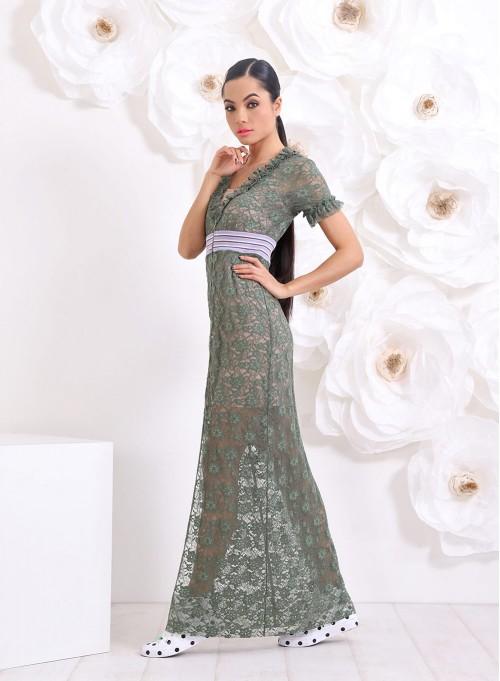 """Дълга рокля """"Floral Lace"""" от зелена дантела в 2 части"""