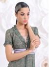 """Дълга рокля """"Floral Lace"""" от зелена дантела в 2 части - 1"""