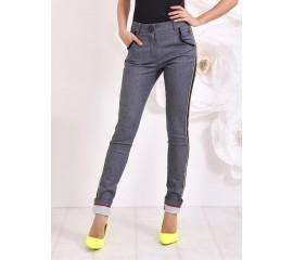 """Панталон """"Лил Ким"""" с кожени кантове в жълто и черно"""