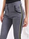 """Панталон """"Лил Ким"""" с кожени кантове в жълто и черно - 2"""