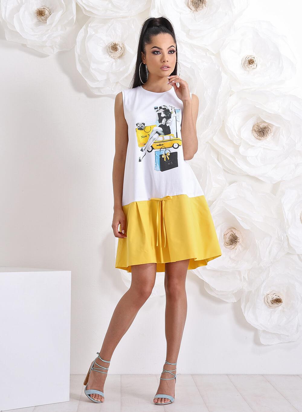 """Рокля """"City Girl"""" в бяло и жълто"""