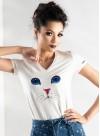 """Тениска """"Cat"""" в бяло с бродерия - 1"""