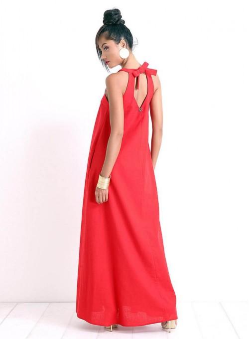 """Ленена рокля """"Beautiful Line"""" в червено"""