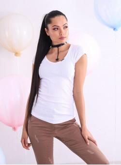 """Тениска """"Bianca"""" от бял рипс"""