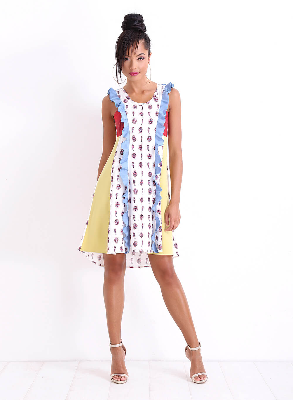 """Многоцветна рокля """"Bon Bon"""" от няколко материи"""