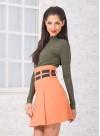 Къса пола с висока талия в красив пастелен цвят - 2