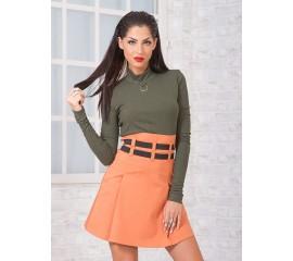 Къса пола с висока талия в красив пастелен цвят