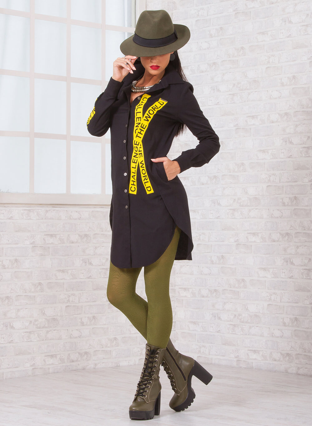 Риза-туника с жълт принт