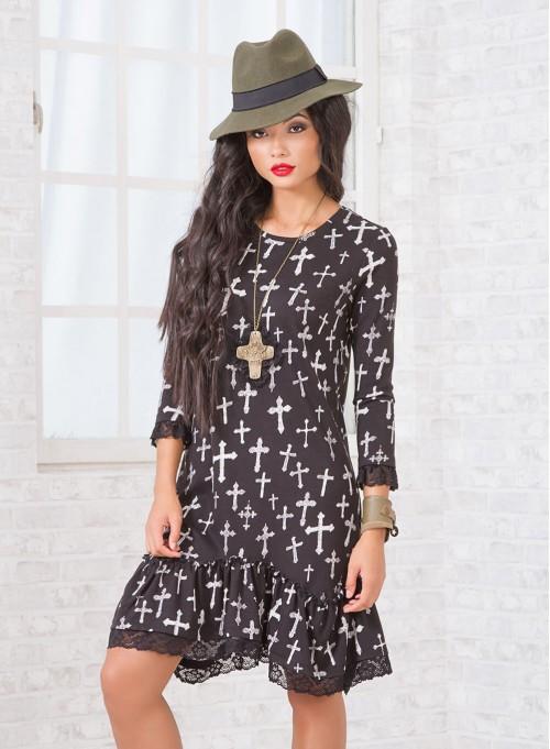 Винтидж рокля със свободна кройка и дантелен кант