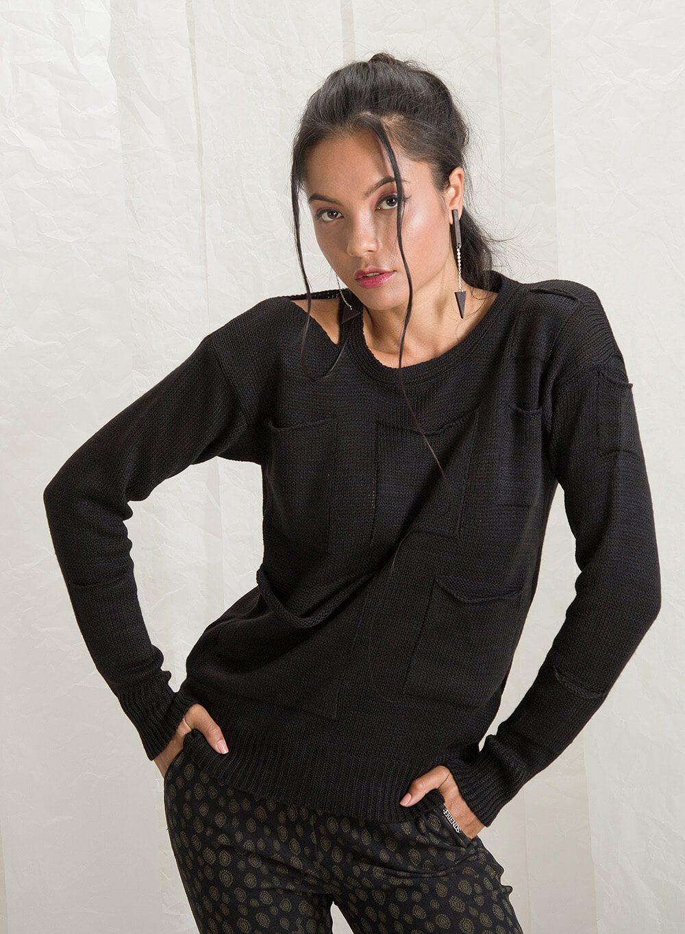 """Пуловер """"Pocket"""" в черно"""