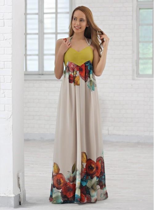 Дълга рокля от копринен шифон