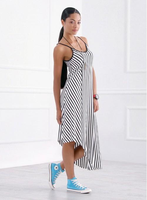 Асиметрична спортно-елегантна рокля в райе