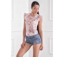 Блуза с красив флорален принт в розово