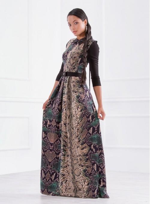 Дълга рокля с плохи и яка в 3D принт