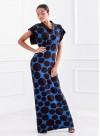 Дълга рокля в синьо на точки с акцент мрежа на гърба - 1