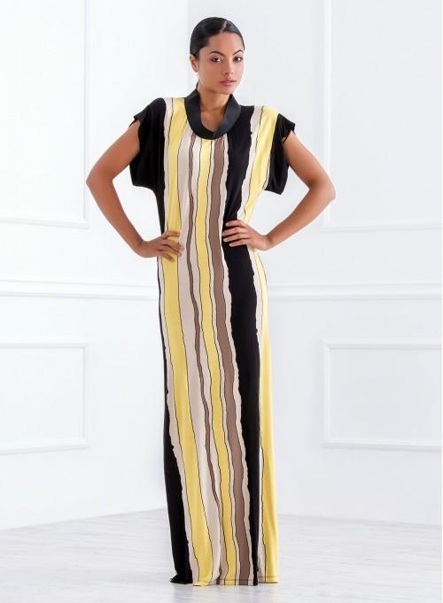 Дълга рокля в жълто райе с акцент мрежа на гърба