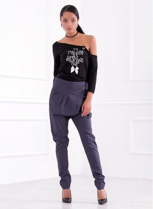 """Панталон-потур от текстил """"Оля"""" сиво-син"""
