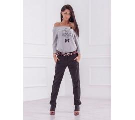 Спортен панталон с акценти в колана в тъмно сиво