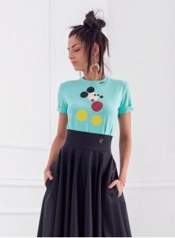 """T-shirt """"Мики Маус"""" с кожени уши в синьо-зелено"""